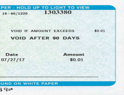 Image of check for one cent